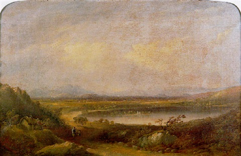 the lake of menteith looking east to inchmahome priory and the ochil hills beyond by henry g duguid