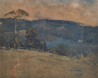 hillside in the evening light by jesse jewhurst hilder