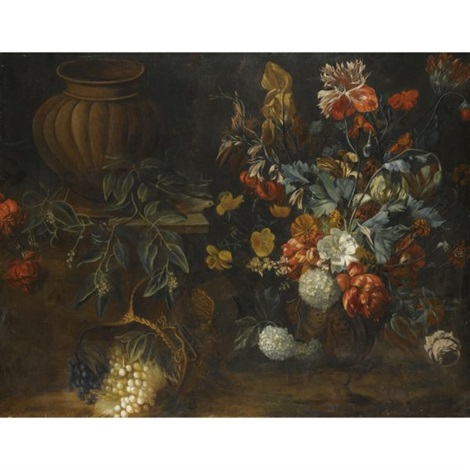 still life with a large vase of flowers an empty urn on a stone plinth and a basket of flowers by simon pietersz verelst
