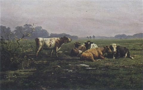 cattle in a landscape by arie cornelius kooper