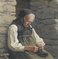 alte bäuerin beim stricken by henri van muyden