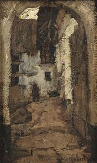 poortje met doorkijk naar huizen, harderwijk; an alleyway in harderwijk by suze bisschop-robertson