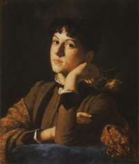 fiatal lány rózsával (abt klotild portréja), 1887 - young girl with a rose, the portrait of klotild abt by aladár körösföi kriesch