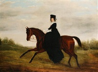 an elegant lady on horseback by james loder