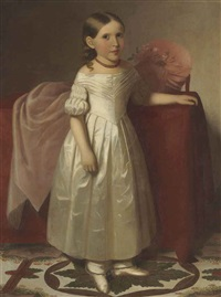 portrait of a young girl in a white dress by american school (19)
