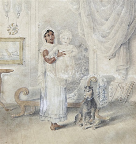 an ayah and her charge in an interior by charles sir doyly