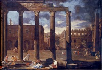 a classical architectural capriccio with a scene of the plague by thomas blanchet