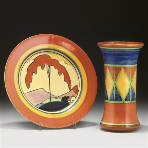 Mountain Plate Bizarre Vase 2 Works By Clarice Cliff Moorcroft On