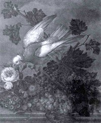a bird with flowers and fruit on a ledge by anton fidler