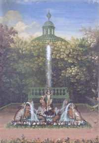 a fantastical animal fountain in the bosquet du labyrinthe, château de versailles by jean cotelle the younger