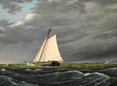 sailing boats under a dark sky by daniel hermann anton melbye