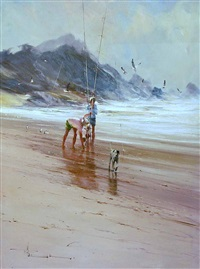 fishing with dog by robert hagan