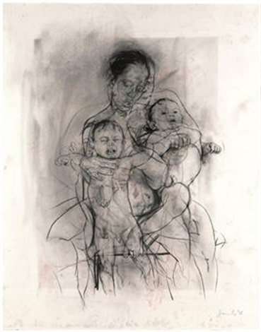 mother and child after the leonardo cartoon by jenny saville
