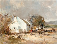 farmhouse with donkey cart by christiaan nice