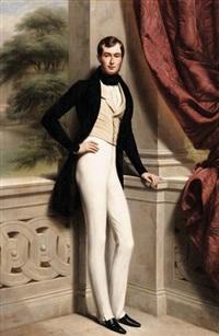 portrait de philippe hottinguer en pied devant une galerie d'entrelacs by louis-félix amiel
