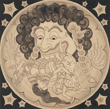 Haliya, masked goddess of the moon vs Bakunawa, moon eating dragon ...