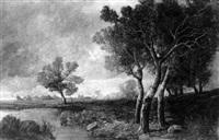 paysage aux grands arbres au bord d'un étang by josef colla