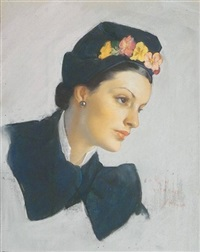 beautiful woman in blue, flowers in hat (illus. for mccall's magazine) by neysa mcmein