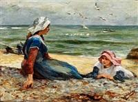 two girls on a beach by robert jobling