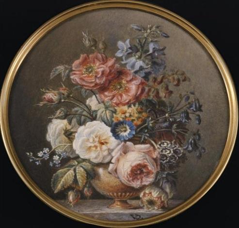vase de marbre roses blanches et roses auriculae mina lobata narcisses pivoines sur un entablement de marbre veiné gris by jan frans van dael