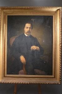 portrait d'homme à la redingote noir et au gilet rouge by jean-pierre monceret