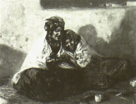ouled nails sur la terrasse à bou saada by alphonse léon germain thill