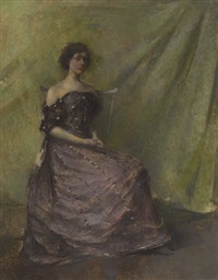 lady in a purple dress by thomas wilmer dewing