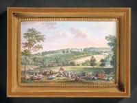 fête villageoise animée de personnages et animaux dans un paysage by edmé charles de lioux de savignac