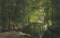a stream in the spring woods with two women in a rowing boat. people are relaxing near the shore by carl frederik peder aagaard
