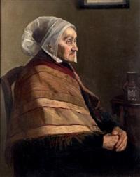 paysanne assise de profil au châle by bessie ellen davidson