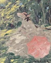 femme assise en sous-bois by louis icart