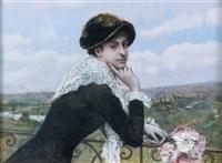 portrait d'une élégante au balcon by norbert goeneutte