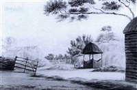 site of the old manor house near mr. redgrave's   view of stanebridge green, bedfordshire by thomas fisher