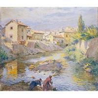 lavanderas en el río by marceliano santamaria y sedano