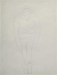 femme nue assise de face, tête baissée by auguste rodin