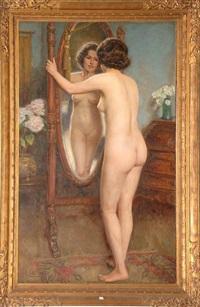 femme nue devant son miroir by leon corthals
