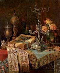 nature morte au livre et instruments scientifiques sur une table by ludwig augustin