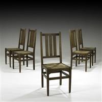 dining chairs with rush seats (set of 5) by harvey ellis