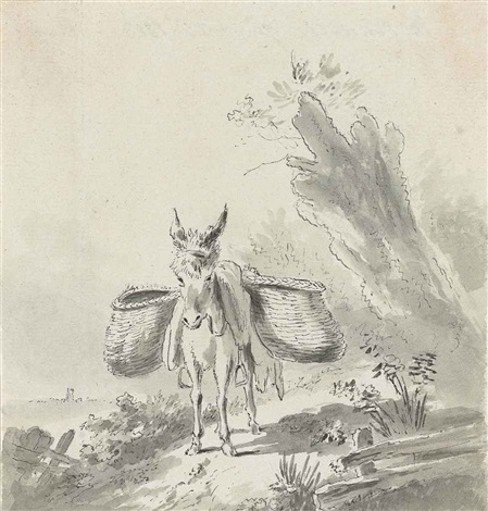 a donkey with panniers on a country path album w59 various works by john constable