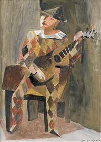 gitarre spielender harlekin by hans erni