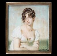 portrait de jeune femme en buste les bras croisés, en robe blanche, au décolté une pensée by jean urbain guerin