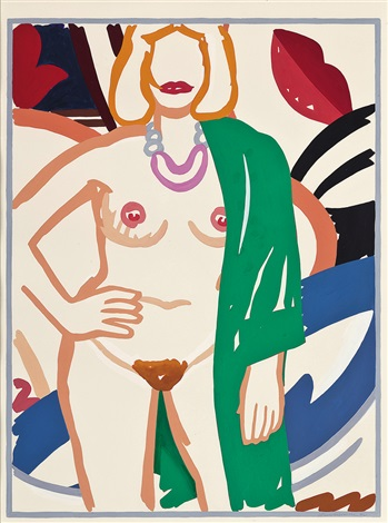 study for claire standing with vivienne by tom wesselmann