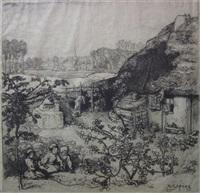 la chausniere a rousseau; la maison inondee; le nid (3 works) by auguste louis lepère