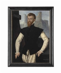 portrait of edward courtenay, 1st earl of devon (1523-1556), half-length, in a black jerkin tied by points and a ruff, leaning on a stone ledge, ruins beyond by british school (16)