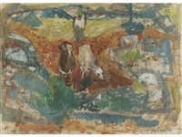 peasant ploughing by alberto morrocco
