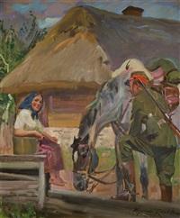 ułan i dziewczyna przy studni by woiciech (aldabert) ritter von kossak