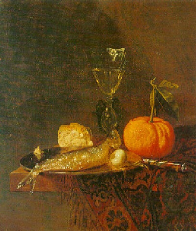 still life of a herring on a pewter plate an orange a glass and bread by pieter van den bos