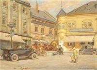 busy square in kromeriz, czech republic by robert hofmann
