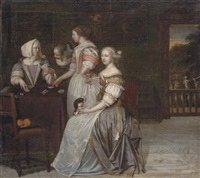 elegant company playing cards in an interior by eglon hendrik van der neer