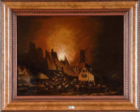village en feu en pleine nuit by egbert lievensz van der poel